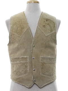 1980's Mens Western Style Suede Leather Vest