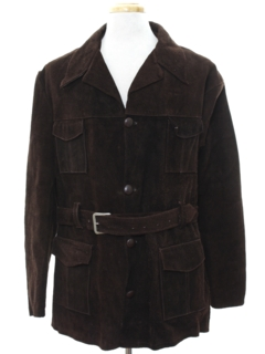 1970's Mens Mod Suede Leather Car Coat Jacket