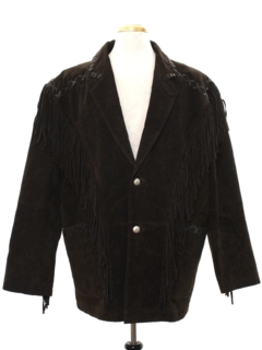 1990's Mens Hippie Fringed Suede Leather Jacket
