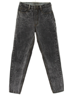 1980's Womens Totally 80s Tapered Leg Acid Wash Denim Designer Jeans Pants