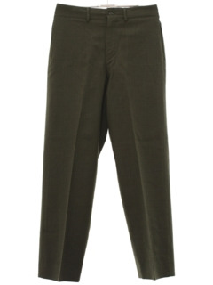 1960's Mens Mod Flat Front Military Wool Slacks Pants