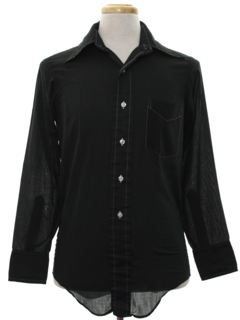 1970's Mens Solid Disco Style Cotton Blend Shirt