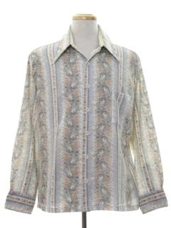1970's Mens Cotton Blend Print Disco Style Sport Shirt