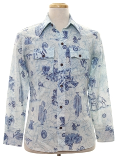 1970's Mens Print Western Style Shirt