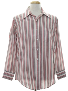 1970's Mens Striped Print Shirt