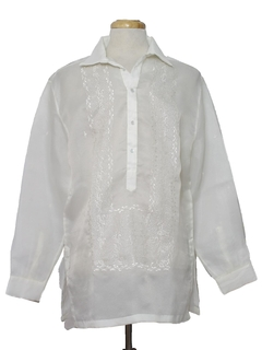 1980's Mens Sheer Embroidered Hippie Shirt