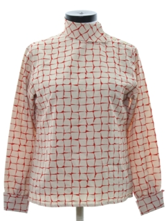 1960's Womens Asian Inspired Mod Print Shirt