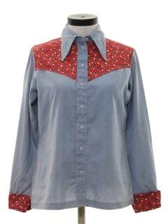 1970's Womens Chambray Hippie Western Shirt
