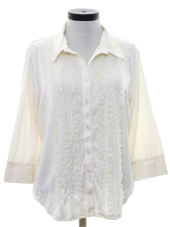 1970's Womens Lace Ruffled Secretary Shirt