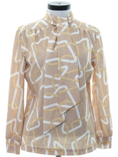 1960's Womens Mod Print Secretary Shirt