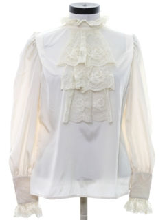 1970's Womens Victorian Style Lace Ruffled Secretary Shirt