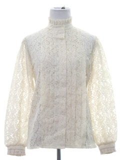 1970's Womens Victorian Style Lace Shirt