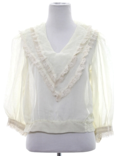 1970's Womens Lace Hippie Shirt
