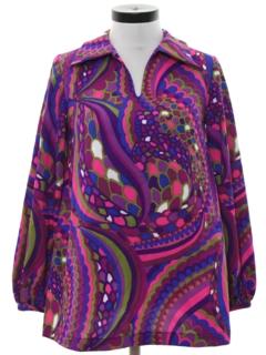 1970's Womens Mod Psychedelic Op-Art Print Hippie Shirt