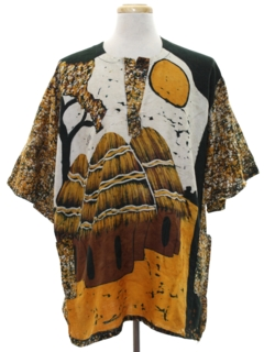 1980's Mens Ethnic African Hippie Style Shirt
