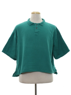 1980's Mens Totally 80s Cropped Polo Style Shirt