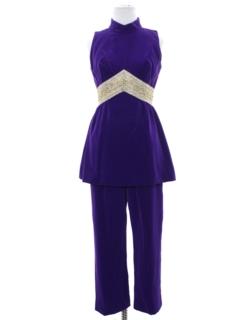 1960's Womens Mod Velvet Go Go Style Suit
