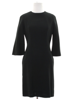 1960's Womens Mod Designer Little Black Cocktail Dress
