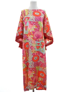 1960's Womens Mod Hippie Style Cocktail Caftan Dress