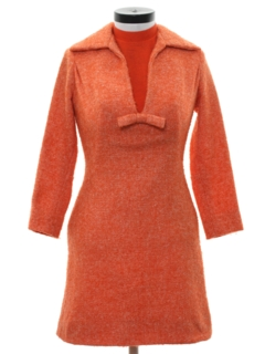 1960's Womens Mod Mini Wool Dress