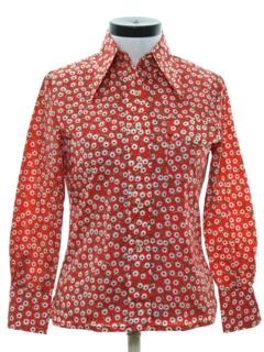 1970's Womens Print Disco Style Ski Shirt