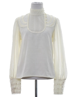 1980's Womens Victorian Style Ruffled Prairie Shirt