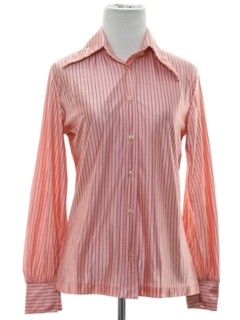 1970's Womens Shiny Nylon Striped Print Disco Shirt