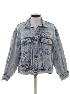 1990's Womens Totally 80s Look Acid Wash Denim Jacket