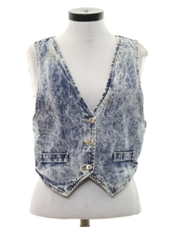 1980's Womens Totally 80s Acid Wash Denim Vest