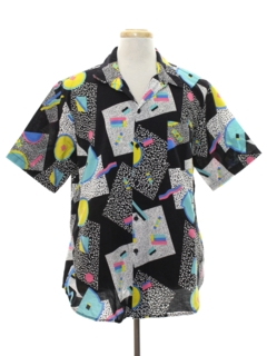1980's Mens Totally 80s Graphic Print Sport Shirt