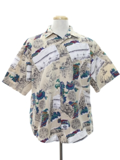 1980's Mens Totally 80s Style Graphic Print Sport Shirt