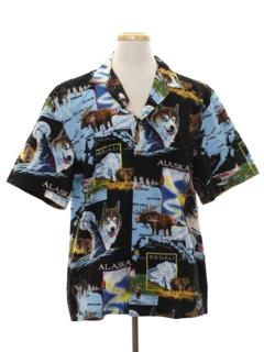1990's Mens Hawaiian Style Graphic Print Sport Shirt