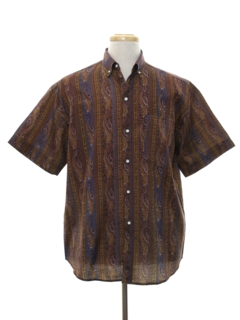 1960's Mens Mod Graphic Print Sport Shirt