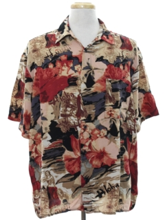 1990's Mens Wicked 90s Hawaiian Style Graphic Print Sport Shirt