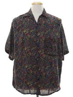 1980's Mens Totally 80s Look Rayon Graphic Print Shirt