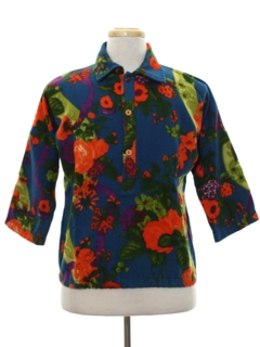 1960's Mens Mod Pow Flower Wool Shirt