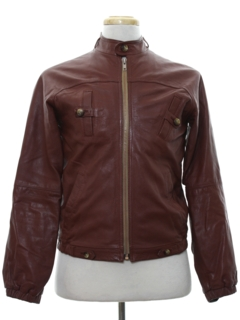 1980's Mens Totally 80s Leather Cafe Racer Style Jacket
