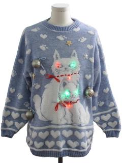 1980's Unisex Multicolor Lightup Cat-Tastic Hand Embellished Ugly Christmas Vintage Sweater