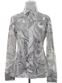 1960's Womens Mod Op-Art Print Disco Style Shirt