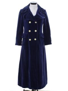 1960's Womens Mod Velvet Maxi Coat