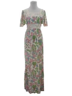 1970's Womens Print Prairie Style Hippie Maxi Dress