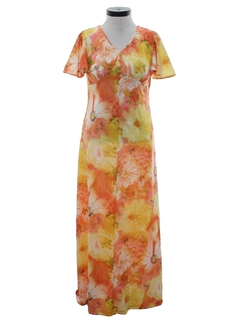1970's Womens A-Line Mod Maxi Dress