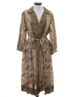 1970's Womens Paisley Print Hippie Style Dress