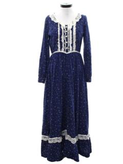 1970's Womens Prairie Style Maxi Dress