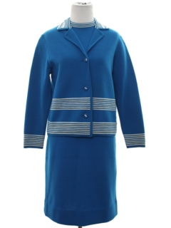 1960's Womens Mod Wool Knit Suit
