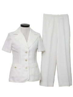 1970's Womens Mod White Pantsuit