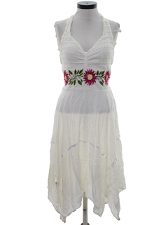 1980's Womens Embroidered Hippie Dress