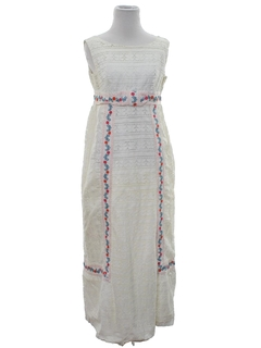 1970's Womens Hippie Cocktail, Prom, or Wedding Maxi Dress
