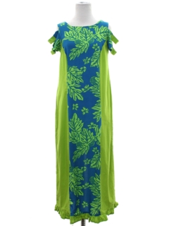 1970's Womens Hawaiian Plantation Style Maxi Dress