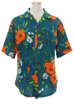 1960's Mens Pow-Flower Print Hippie Shirt